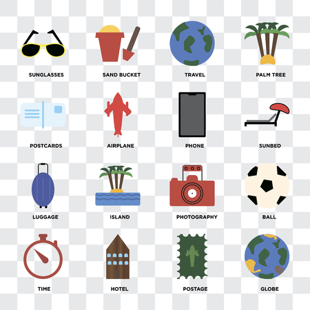 Set Of 16 icons such as Globe, Postage, Hotel, Time, Ball, Sunglasses, Postcards, Luggage, Phone on transparent background, pixel perfect