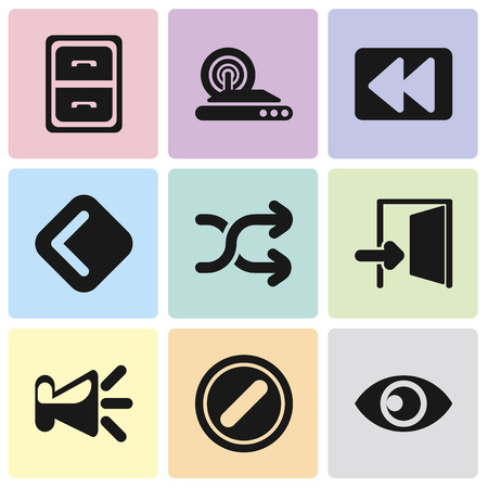 Set Of 9 simple editable icons such as View, Forbidden, Speaker, Exit, Shuffle, Back, Rewind, Wireless internet, Archive, can be used for mobile, pixel perfect vector icon pack Illustration
