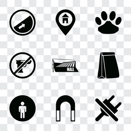 Set Of 9 simple transparency icons such as No plug, Magnet, Restroom, Paper bag, Mall, Gun, Pet, Location, Slope, can be used for mobile, pixel perfect vector icon pack on transparent background