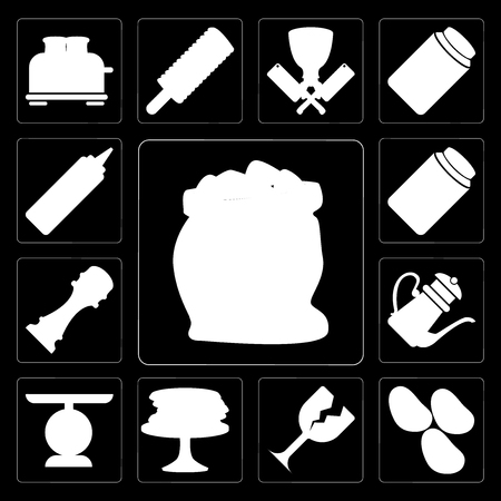 Set Of 13 simple editable icons such as Flour, Potatoes, Glass, Pancakes, Scale, Teapot, Pepper, Pickles, Mustard on black background Çizim