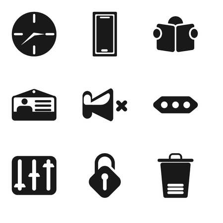 Set Of 9 simple editable icons such as Trash, Unlocked, Controls, More, Mute, Id card, Reading, Smartphone, Clock, can be used for mobile, pixel perfect vector icon pack