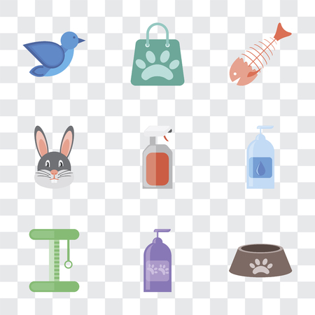 Set Of 9 simple transparency icons such as Dog food, Shampoo, Platform, Drops, Spray, Rabbit, Fish bone, Shopping bag, Bird, can be used for mobile, pixel perfect vector icon pack on transparent Archivio Fotografico - 111926197