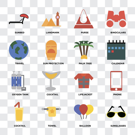 Set Of 16 icons such as Sunglasses, Balloon, Towel, Cocktail, Phone, Sunbed, Travel, Oxygen tank, Palm tree on transparent background, pixel perfect