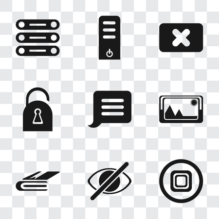 Set Of 9 simple transparency icons such as Stop, Hide, Notebook, Picture, Notification, Locked, Close, Server, Database, can be used for mobile, pixel perfect vector icon pack on transparent Vektorgrafik
