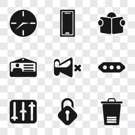 Set Of 9 simple transparency icons such as Trash, Unlocked, Controls, More, Mute, Id card, Reading, Smartphone, Clock, can be used for mobile, pixel perfect vector icon pack on transparent background