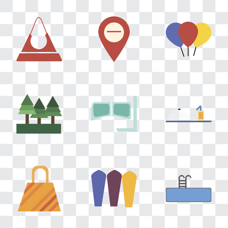 Set Of 9 simple transparency icons such as Swimming pool, Surfing, Bag, Room service, Snorkel, Forest, Balloon, Map, Purse, can be used for mobile, pixel perfect vector icon pack on transparent Illustration