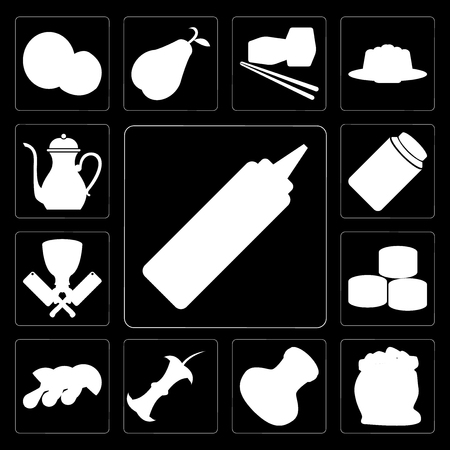 Set Of 13 simple editable icons such as Mustard, Flour, Salt, Apple, Mushrooms, Sushi, Butcher, Honey, Teapot on black background Illustration