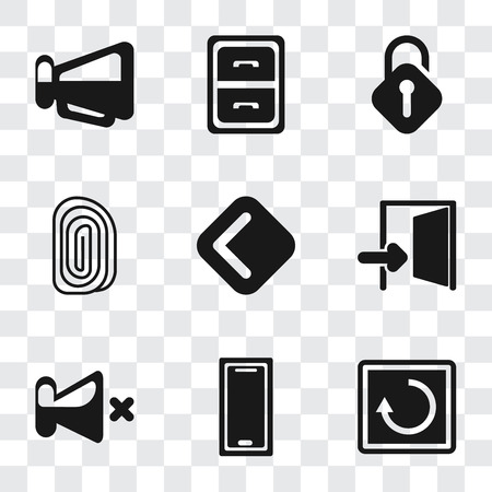 Set Of 9 simple transparency icons such as Restart, Smartphone, Mute, Exit, Back, Fingerprint, Unlocked, Archive, Megaphone, can be used for mobile, pixel perfect vector icon pack on transparent