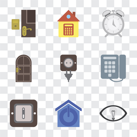 Set Of 9 simple transparency icons such as Smart, Smart home, Switch, Dial, Plug, Door, Alarm, Home, Doorbell, can be used for mobile, pixel perfect vector icon pack on transparent background