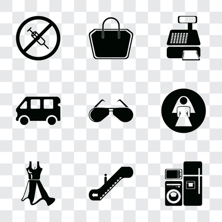 Set Of 9 simple transparency icons such as Electrical appliances, Escalator, Dress, Restroom, Glasses, Bus, Cashier machine, Tote bag, No drugs, can be used for mobile, pixel perfect vector icon pack Ilustracja
