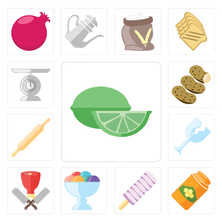 Set Of 13 simple editable icons such as Lime, Honey, Ice cream, Butcher, Glass, Rolling pin, Potatoes, Scale, web ui icon pack