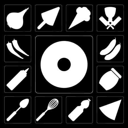 Set Of 13 simple editable icons such as Doughnut, Pizza, Water, Whisk, Spoon, Jam, Mustard, Cucumber, Pepper on black background