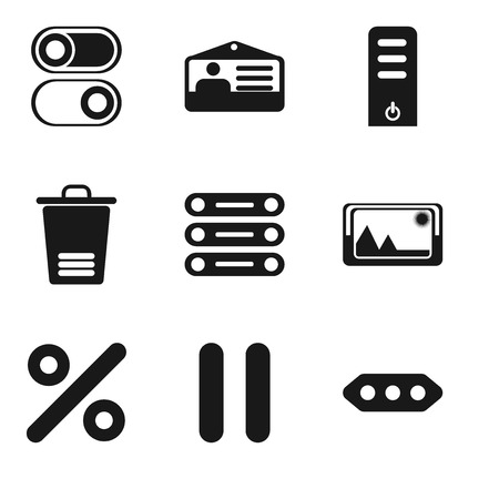 Set Of 9 simple editable icons such as More, Pause, Percent, Picture, Database, Trash, Server, Id card, Switch, can be used for mobile, pixel perfect vector icon pack  イラスト・ベクター素材
