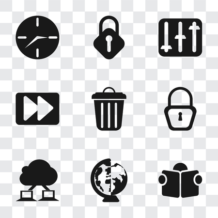 Set Of 9 simple transparency icons such as Reading, Worldwide, Cloud computing, Locked, Garbage, Fast forward, Controls, Lock, Clock, can be used for mobile, pixel perfect vector icon pack on