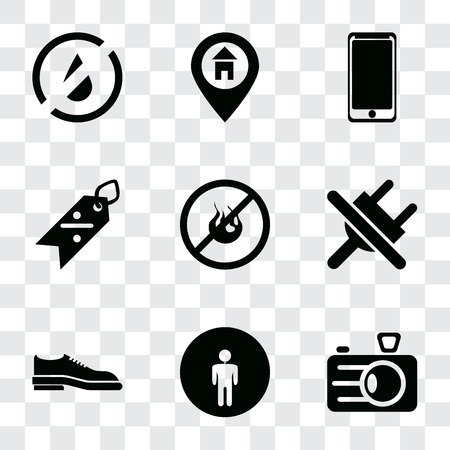 Set Of 9 simple transparency icons such as Camera, Restroom, Shoes, No plug, fire, Discount, Smarthphone, Location, water, can be used for mobile, pixel perfect vector icon pack on transparent