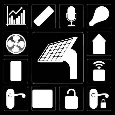 Set Of 13 simple editable icons such as Panel, Handle, Unlock, Browser, Doorknob, Socket, Mobile, Home, Fan on black background Ilustração