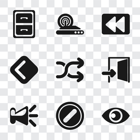 Set Of 9 simple transparency icons such as View, Forbidden, Speaker, Exit, Shuffle, Back, Rewind, Wireless internet, Archive, can be used for mobile, pixel perfect vector icon pack on transparent Illustration