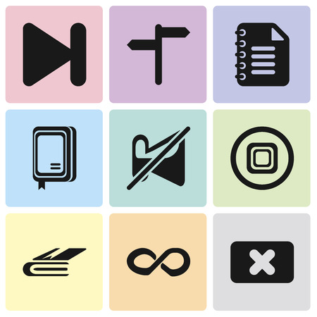 Set Of 9 simple editable icons such as Close, Infinity, Notebook, Stop, Muted, Notepad, Next, can be used for mobile, pixel perfect vector icon pack Illustration