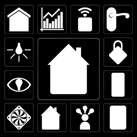 Set Of 13 simple editable icons such as Home, Plug, Smart, Cooler, Mobile, Locking, Light on black background