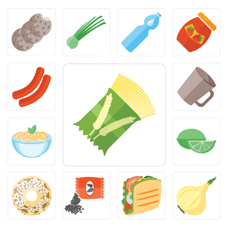 Set Of 13 simple editable icons such as Pasta, Onion, Taco, Seeds, Doughnut, Lime, Mug, Sausage, web ui icon pack Ilustrace