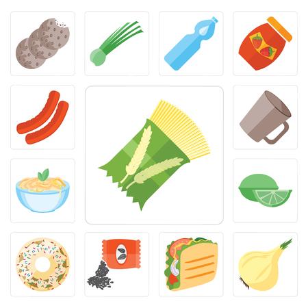 Set Of 13 simple editable icons such as Pasta, Onion, Taco, Seeds, Doughnut, Lime, Mug, Sausage, web ui icon pack Illustration