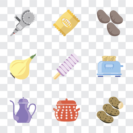 Set Of 9 simple transparency icons such as Potatoes, Pot, Teapot, Toaster, Ice cream, Onion, Chips, Grinder, can be used for mobile, pixel perfect vector icon pack on transparent background