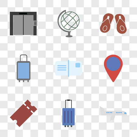 Set Of 9 simple transparency icons such as Airplane, Luggage, Tickets, Location, Postcards, Suitcases, Flip flops, Globe, Elevator, can be used for mobile, pixel perfect vector icon pack on