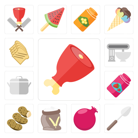 Set Of 13 simple editable icons such as Ham, Spoon, Pomegranate, Flour, Potatoes, Jam, Pot, Mixer, Toast, web ui icon pack