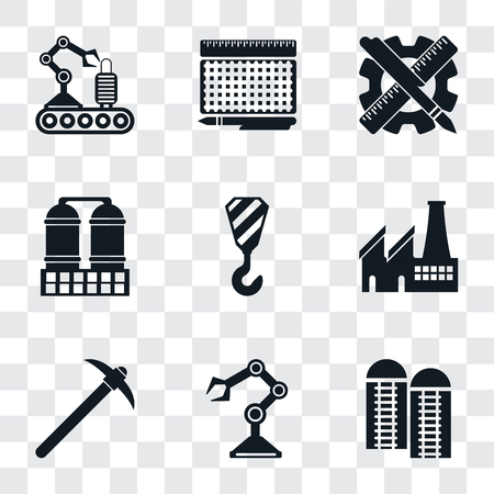Set Of 9 simple transparency icons such as Silo, Robot arm, Pick, Factory, Crane, Refinery, Planning, print, Conveyor, can be used for mobile, pixel perfect vector icon pack on transparent background Stock Illustratie