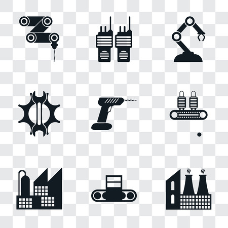 Set Of 9 simple transparency icons such as Factory, Conveyor, Drill, Settings, Robotic arm, Walkie talkie, Drilling machine, can be used for mobile, pixel perfect vector icon pack