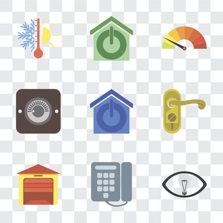 Set Of 9 simple transparency icons such as Smart, Dial, Garage, Doorknob, Smart home, Dimmer, Meter, Thermostat, can be used for mobile, pixel perfect vector icon pack on transparent