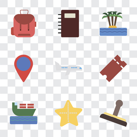 Set Of 9 simple transparency icons such as Stamp, Starfish, Ship, Tickets, Airplane, Location, Island, Notebook, Backpack, can be used for mobile, pixel perfect vector icon pack on transparent Illustration