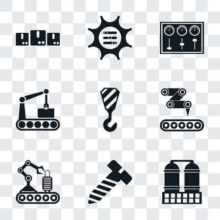Set Of 9 simple transparency icons such as Refinery, Bolt, Conveyor, Crane, Control panel, Options, Packages, can be used for mobile, pixel perfect vector icon pack on transparent
