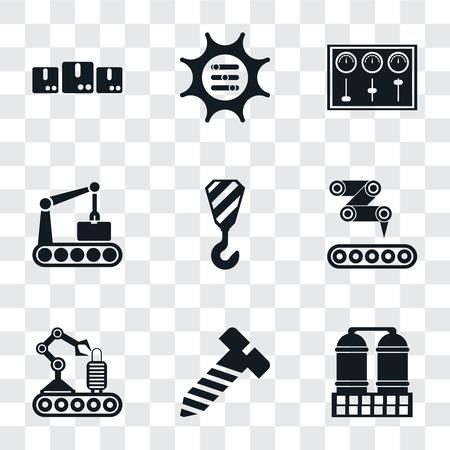 Zestaw 9 prostych ikon przezroczystości, takich jak rafineria, śruba, przenośnik, dźwig, panel sterowania, opcje, pakiety, może być używany na urządzeniach mobilnych, pakiet ikon wektorowych idealny w pikselach na przezroczystym