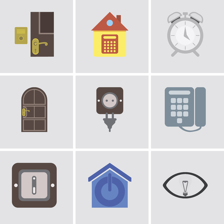 Set Of 9 simple editable icons such as Smart, Smart home, Switch, Dial, Plug, Door, Alarm, Home, Doorbell, can be used for mobile, pixel perfect vector icon pack