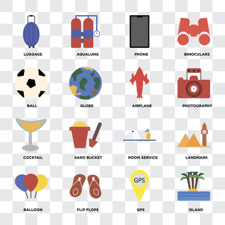 Set Of 16 icons such as Island, Gps, Flip flops, Balloon, Landmark, Luggage, Ball, Cocktail, Airplane on transparent background, pixel perfect Illustration