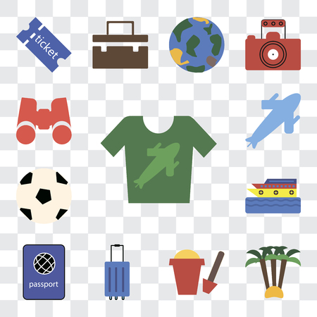Set Of 13 transparent editable icons such as Shirt, Palm tree, Sand bucket, Luggage, Passport, Cruise, Ball, Plane, Binoculars, web ui icon pack, transparency set