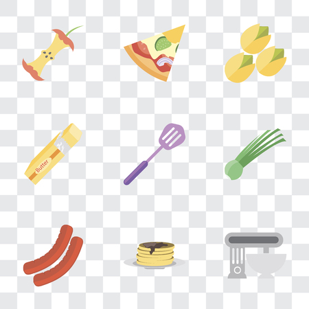Set Of 9 simple transparency icons such as Mixer, Pancakes, Sausage, Chives, Spatula, Butter, Pistachio, Pizza, Apple, can be used for mobile, pixel perfect vector icon pack on transparent background Stock Vector - 111926868