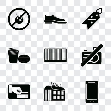 Set Of 9 simple transparency icons such as Smartphone, Mall, Card payment, No camera, Barcode, Fast food, Discount, Shoes, fire, can be used for mobile, pixel perfect vector icon pack on