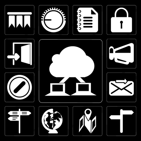 Set Of 13 simple editable icons such as Cloud computing, , Map, Worldwide, Street, Send, Forbidden, Megaphone, Exit on black background Illustration