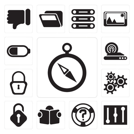 Set Of 13 simple editable icons such as Compass, Controls, Help, Reading, Unlocked, Settings, Locked, Wireless internet, Battery, web ui icon pack Illustration