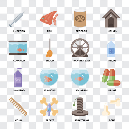 Set Of 16 icons such as Bone, Scratching, Treats, Comb, Drugs, Injection, Aquarium, Shampoo, Hamster ball on transparent background, pixel perfect