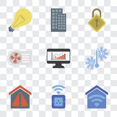 Set Of 9 simple transparency icons such as Smart home, Socket, Temperature, Dashboard, Air conditioner, Locking, Light, can be used for mobile, pixel perfect vector icon pack 向量圖像