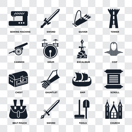 Set Of 16 icons such as Church, Tools, Sword, Belt pouch, Scroll, Sewing machine, Cannon, Chest, Excalibur on transparent background, pixel perfect