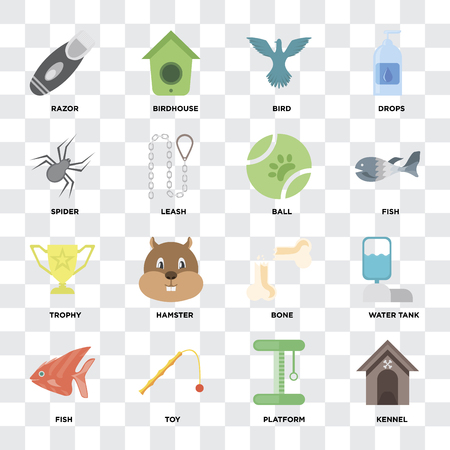 Set Of 16 icons such as Kennel, Platform, Toy, Fish, Water tank, Razor, Spider, Trophy, Ball on transparent background, pixel perfect Иллюстрация