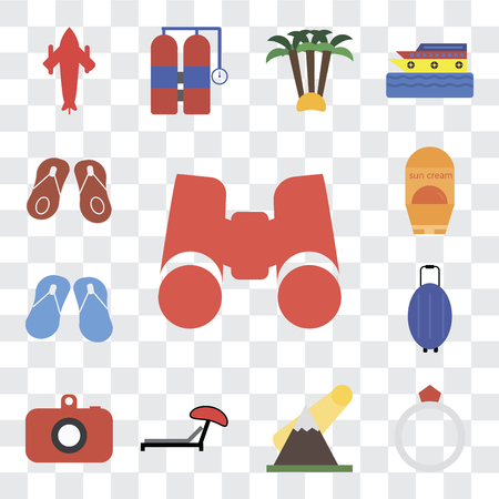 Set Of 13 transparent editable icons such as Binoculars, Ring, Mountains, Sunbed, Camera, Luggage, Flip flops, Sun protection, web ui icon pack, transparency set Ilustrace