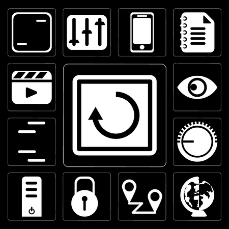 Set Of 13 simple editable icons such as Restart, Worldwide, Placeholders, Locked, Server, Volume control, Lines, View, Video player on black background Stock Vector - 111926884