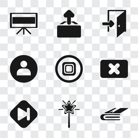 Set Of 9 simple transparency icons such as Notebook, Magic wand, Skip, Close, Stop, User, Exit, Upload, Television, can be used for mobile, pixel perfect vector icon pack on transparent background