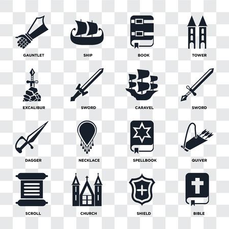 Ensemble de 16 icônes telles que Bible, Shield, Church, Scroll, Quiver, Gauntlet, Excalibur, Dagger, Caravel sur fond transparent, pixel perfect Vecteurs