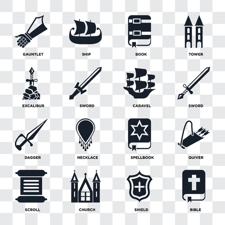 Set Of 16 icons such as Bible, Shield, Church, Scroll, Quiver, Gauntlet, Excalibur, Dagger, Caravel on transparent background, pixel perfect Illustration